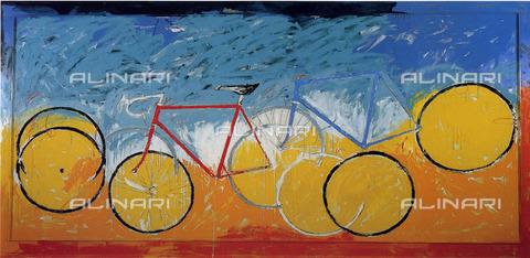 """AAE-S-000133-9727 - """"Bicilette""""; dipinto di Mario Schifano esposto alla Mostra """"Milano ricorda Schifano a dieci anni dalla scomparsa"""" - Data dello scatto: 2008 - © ANSA su licenza Archivi Fratelli ALINARI"""