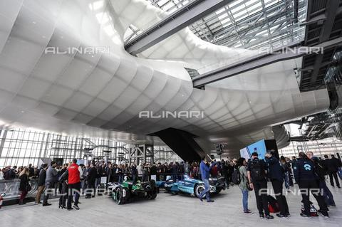 "AAE-S-A63AE2-487B - ""Nuvola di Fuksas"", designed by Studio Fuksas, Rome Convention Center; picture taken during the Formula-E Prix presentation - Data dello scatto: 19/10/2018 - Giuseppe Lami / © ANSA under licence Archivi Fratelli ALINARI"