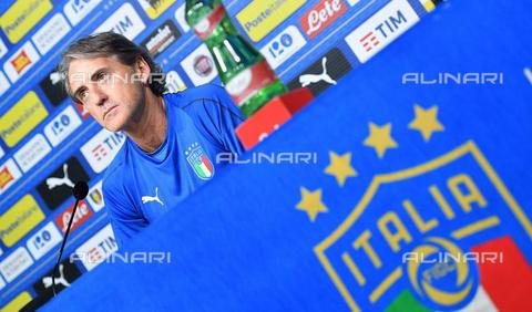 AAE-S-e56f83-1ce2 - Italian soccer team coach Roberto Mancini during the press conference held at Juventus Sport Center before Italy / Holland friendly match, Vinovo, Torino province - Data dello scatto: 03/06/2018 - ALESSANDRO DI MARCO / © ANSA under licence Archivi Fratelli ALINARI