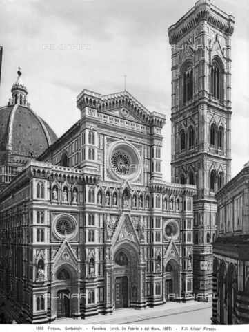 ACA-F-001955-0000 - The Cathedral of Santa Maria del Fiore and Giotto's Bell Tower in Florence - Data dello scatto: 1890 ca. - Archivi Alinari, Firenze