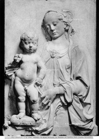 ACA-F-002702-0000 - Madonna and Child, marble, Andrea del Verrocchio (1435-1488), Museo Nazionale del Bargello, Florence - Data dello scatto: 1890 ca. - Archivi Alinari, Firenze