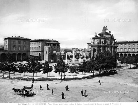 ACA-F-003091-0000 - Piazza Cavour, today the Piazza della Libertà, in Florence, with the antique Porta S.Gallo and the Triumphal Arch of Francesco Stefano di Lorena