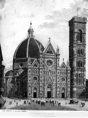 ACA-F-004263-0000 - The faà§ade of S. Maria del Fiore and the Bell Tower by Giotto, print with a caption referring to the project by the architect Emilio de Fabris
