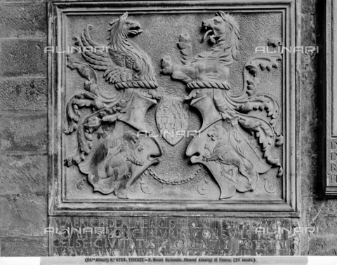 ACA-F-004763-0000 - Almerian coat of arms of Pesaro, bas-relief, 15th century art, Courtyard of the Bargello National Museum, Florence - Date of photography: 1890 ca. - Alinari Archives-Alinari Archive, Florence