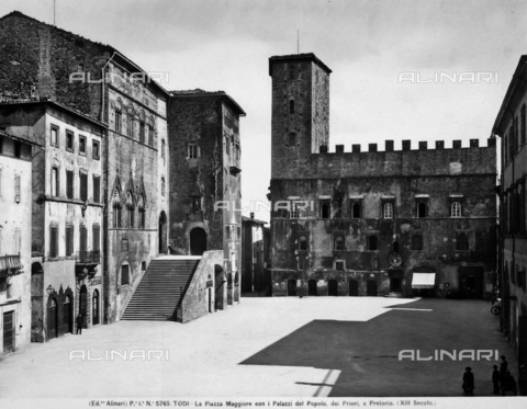 ACA-F-005765-0000 - Piazza Maggiore (the Main Square) with Public Palace, Palace of Priors and Palace of the Magistrate of Todi