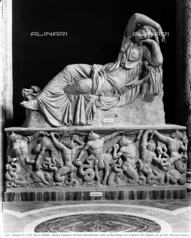 ACA-F-006507-0000 - Sleeping or abandoned Arianna and sarcophagus with gigantomachy, sculpture, Roman art from Greek original of the 2nd century a.C., Gallery of Statues and Hall of busts, Vatican Museums, Vatican City - Data dello scatto: 1890 ca. - Archivi Alinari, Firenze