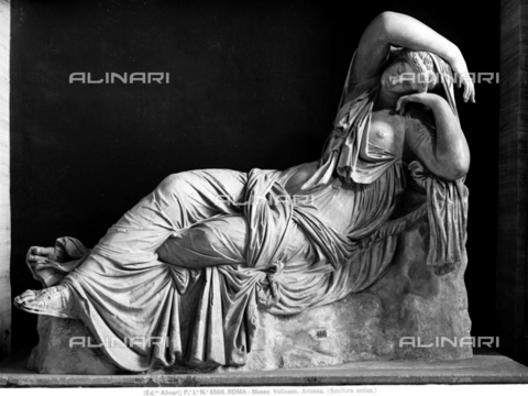 ACA-F-006508-0000 - Sleeping or abandoned Arianna, sculpture, Roman art from Greek original of the 2nd century a.C., Gallery of Statues and Hall of busts, Vatican Museums, Vatican City - Data dello scatto: 1890 ca. - Archivi Alinari, Firenze