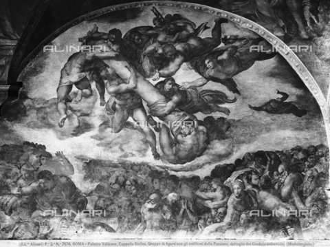 ACA-F-007578-0000 - The Last Judgement, detail with the angels and instruments of the Passion of Christ, fresco, Michelangelo Buonarroti (1475-1564), The Sistine Chapel, Vatican Museums, Vatican City - Data dello scatto: 1890 ca. - Archivi Alinari, Firenze