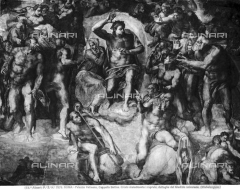 ACA-F-007579-0000 - The Last Judgement, detail, fresco, Michelangelo Buonarroti (1475-1564), The Sistine Chapel, Vatican Museums, Vatican City - Data dello scatto: 1890 ca. - Archivi Alinari, Firenze