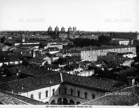 ACA-F-010819-0000 - Panoramic view of the city of Ferrara. In the background the towers of Castello Estense are visible