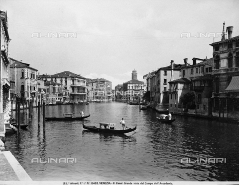 ACA-F-012402-0000 - The Grand Canal with Ca' Rezzonico and Ca' Foscari in Venice. View from Campo dell'Accademia