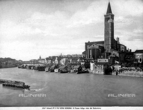 ACA-F-012718-0000 - View of the Adige river and of Verona from the Redentore. In the right is the Church of S. Anastasia.