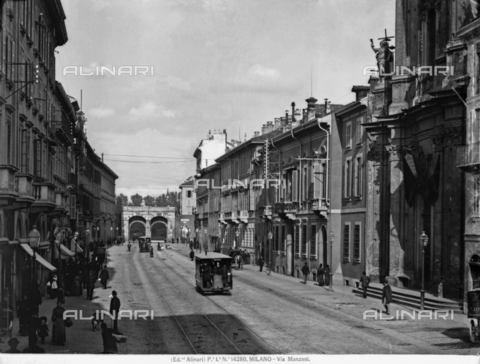 ACA-F-014280-0000 - View of Via Manzoni in Milan with two trams.