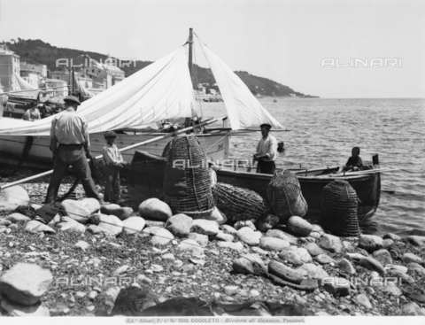 ACA-F-015118-0000 - Fishermen at the marina near Cogoleto on the Riviera of Genoa. Some fishermen emptying fishing baskets and nets are visible in the foreground