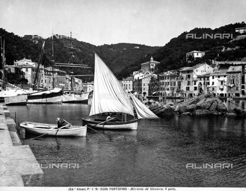 ACA-F-015208-0000 - The small port of Portofino, with moored sailboats. In foreground are some row boats.
