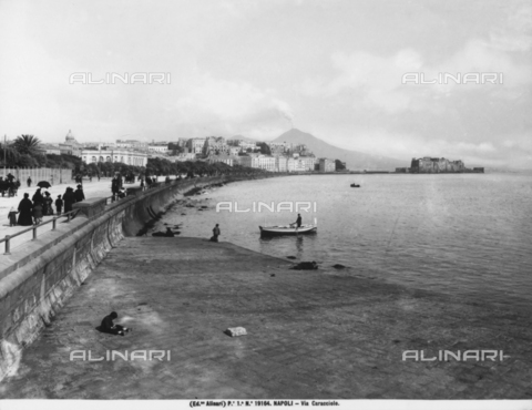 ACA-F-019164-0000 - View of the coastline at Via Caracciolo in Naples. Castel dell'Ovo is in the background