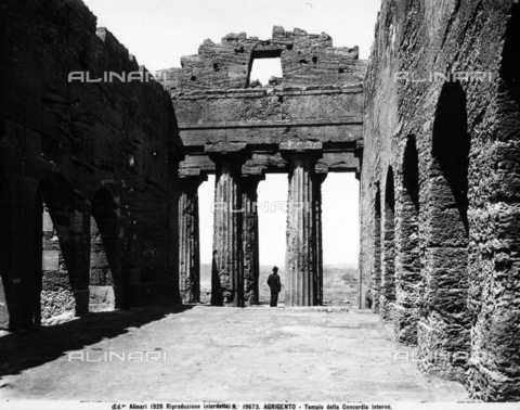 ACA-F-019673-0000 - The interior of the Doric Temple of Concordia at Agrigento.