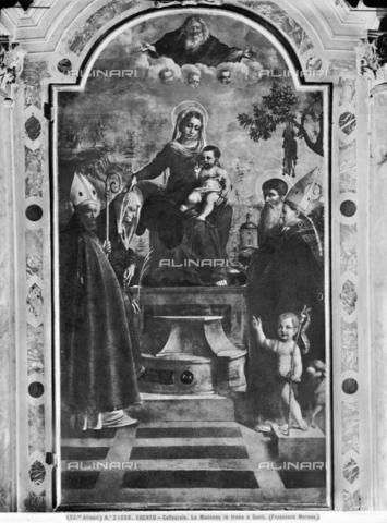 ACA-F-021056-0000 - Madonna and Child Enthroned between Saint Anna, Saint Jerome, Holy Bishops and Saint John the Baptist, painting, Giovan Francesco Caroto (c. 1480-1555), Museo Diocesano Tridentino, Trento - Data dello scatto: 1920-1930 ca. - Archivi Alinari, Firenze