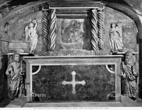 ACA-F-026281-0000 - Altar, with decoration of the master cosmati,  in the Chapel of the Holy Lance, Vatican Grottoes, St. Peter's Basilica, Vatican City - Date of photography: 1920-1930 ca. - Alinari Archives-Alinari Archive, Florence