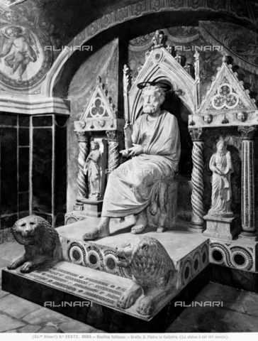 ACA-F-026372-0000 - Saint Peter in the chair, art of the third century,  Vatican Grottoes, St. Peter's Basilica, Vatican City - Date of photography: 1920-1930 ca. - Alinari Archives-Alinari Archive, Florence