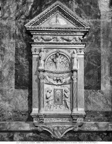 ACA-F-027834-0000 - Tabernacle with a temple, marble, Mino da Fiesole (1429-1484), Church of Santa Francesca Romana, Rome - Data dello scatto: 1920-1930 ca. - Archivi Alinari, Firenze