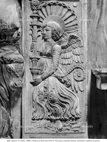 ACA-F-027881-0000 - Funeral monument by Giovanni Alberini, detail, Agostino di Duccio (1418-1481), Church of Santa Maria sopra Minerva, Rome - Data dello scatto: 1920-1930 ca. - Archivi Alinari, Firenze