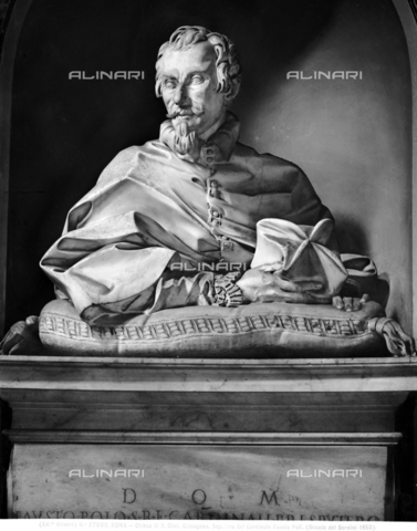 ACA-F-027996-0000 - Bust portrait of Cardinal Fausto Poli, marble, Giulio Catari (active 1665-1691), sacristy, Church of San Crisogono, Rome - Data dello scatto: 1920-1930 ca. - Archivi Alinari, Firenze