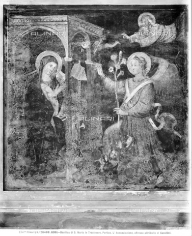 ACA-F-028408-0000 - Annunciation, fresco, attributed to Pietro Cavallini (c. 1224 - about 1330), church of Santa Maria in Trastevere, portico, Rome - Data dello scatto: 1920-1930 ca. - Archivi Alinari, Firenze