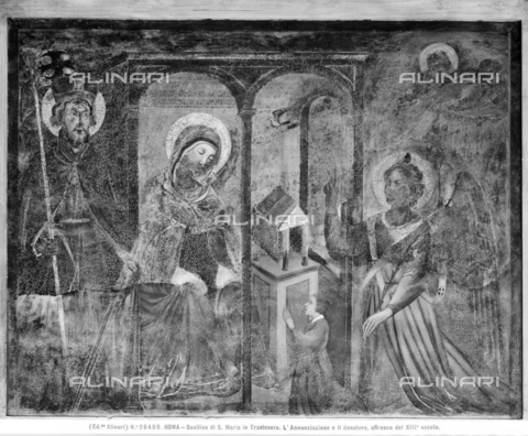 ACA-F-028409-0000 - Annunciation with saint and donor, fresco, school of Pietro Cavallini (1224 ca. - 1330 ca.), church of Santa Maria in Trastevere, portico, Rome - Data dello scatto: 1920-1930 ca. - Archivi Alinari, Firenze