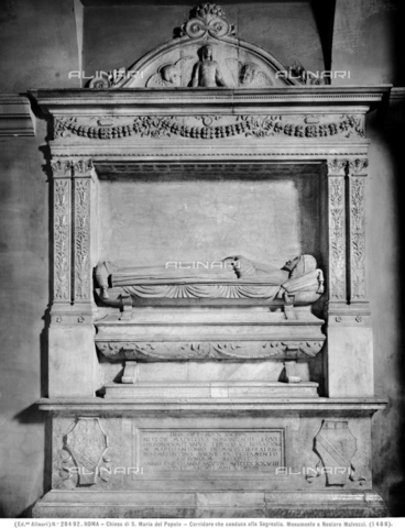 ACA-F-028492-0000 - Sepulchral monument of Nestor Malvezzi, marble, Andrea Bregno (c. 1418-1503) (Bottega di), Sacristy, Church of Santa Maria del Popolo, Rome - Data dello scatto: 1920-1930 ca. - Archivi Alinari, Firenze