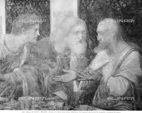 ACA-F-031871-0000 - Last Supper, detail depicting the Apostles Matthew, Jude Thaddeus and Simon, fresco, Leonardo da Vinci (1452-1519), Refectory of the Church of Santa Maria delle Grazie, Milan - Data dello scatto: 1920-1930 ca. - Archivi Alinari, Firenze