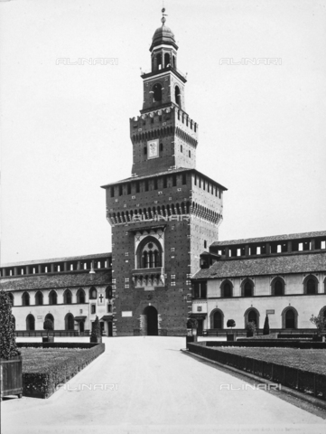 ACA-F-031909-0000 - Tower dedicated to Umberto I, known as the Torre del Filarete, Castello Sforzesco, Milan