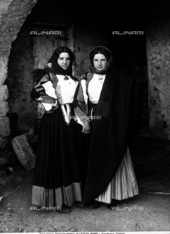 ACA-F-032660-0000 - Full figure shot of two young woman in popular Sardinian dress.