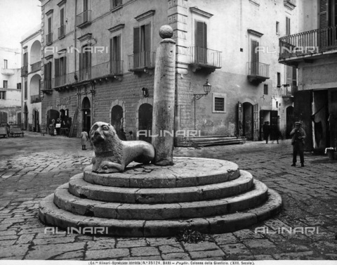 ACA-F-035124-0000 - View of a part of the Piazza Mercantile in Bari. In the foreground, the Column of Justice is next to a stone lion.
