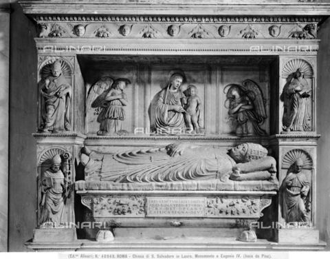 ACA-F-040949-0000 - Sepulchral monument of Eugene IV, detail, marble, Isaia da Pisa (att.1447-1464), Church of San Salvatore in Lauro, Rome - Data dello scatto: 1920-1930 ca. - Archivi Alinari, Firenze