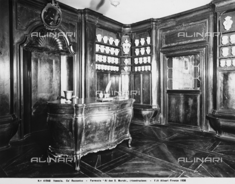 "ACA-F-041948-0000 - An 18th century pharmacy called ""Ai due S. Marchi,"" rebuilt in the Ca' Rezzonico in Venice"