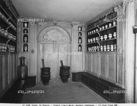 "ACA-F-041949-0000 - The laboratory of the 18th century pharmacy called ""Ai due S. Marchi,"" rebuilt in the Ca' Rezzonico in Venice"