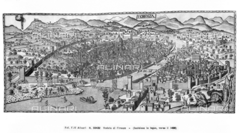 "ACA-F-050432-0000 - View of Florence, called ""Carta della Catena"", engraving attributed to Francesco Rosselli and kept in Kupferstichkabinett Berlin"