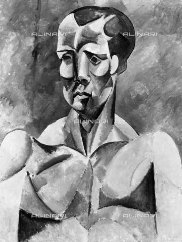 ACA-F-051087-0000 - L'atleta, opera di Pablo Picasso fotografata in occasione della Mostra dei Dipinti del Museo d'Arte di San Paolo allestita a Milano nel 1955. Il dipinto è conservato presso il Museo d'Arte di San Paolo del Brasile - Data dello scatto: 1955 - Archivi Alinari, Firenze
