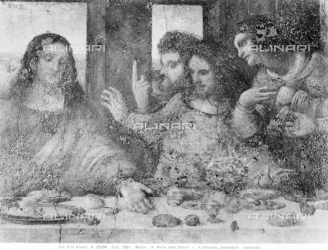 ACA-F-055030-0000 - Last Supper, detail depicting Christ, Thomas, St. James the Greater and St. Philip, fresco, Leonardo da Vinci (1452-1519), Refectory of the Church of Santa Maria delle Grazie, Milan - Data dello scatto: 1961 - Archivi Alinari, Firenze