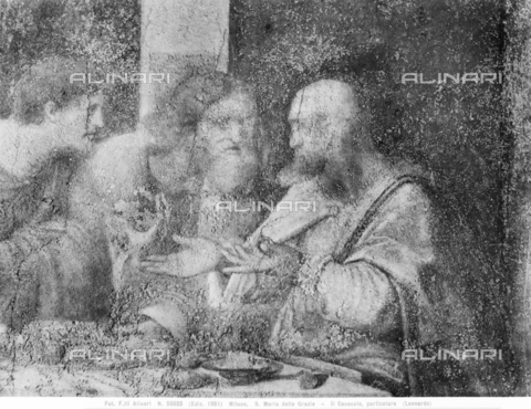 ACA-F-055033-0000 - Last Supper, detail depicting the apostles Matthew, Judas Thaddeus and Simon, fresco, Leonardo da Vinci (1452-1519), Refectory of the Church of Santa Maria delle Grazie, Milan - Data dello scatto: 1961 - Archivi Alinari, Firenze