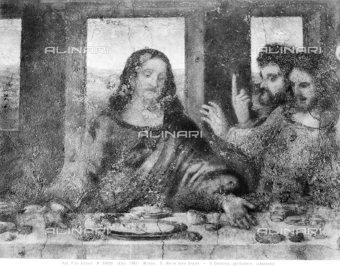 ACA-F-055035-0000 - Last Supper, detail depicting Christ, Thomas, St. James the Greater, fresco, Leonardo da Vinci (1452-1519), Refectory of the Church of Santa Maria delle Grazie, Milan - Data dello scatto: 1961 - Archivi Alinari, Firenze