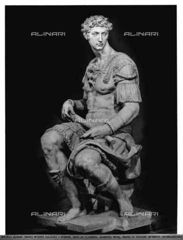 ACA-F-055676-0000 - Statue of Giuliano de'Medici, monument to Giuliano de'Medici, Duke of Nemours, New Sacristy, Medici Chapel, Basilica of San Lorenzo, Florence