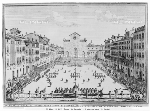 ACA-F-063277-0000 - Piazza Santa Croce during the game of the Historical Football of 1688, engraving, Alessandro Cecchini, Istituto Germanico, Florence - Data dello scatto: 1938 ca. - Archivi Alinari, Firenze