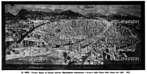 "ACA-F-064581-0000 - View of Florence, 19th century painting, large scale reproduction of the ""Carta della Catena"" map, the original is in the Kupferstchkabinett in Berlin, reproduction in the Museo di Firenze Com'era, Florence"