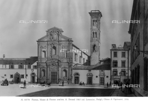 """ACA-F-064754-0000 - The Church of Ognissanti, engraving by Asher Brown Durand (1796-1886), printed by Lemercier-Paris, formerly the Museum of """"Florence as it was"""", Florence - Date of photography: 1976 - Alinari Archives-Alinari Archive, Florence"""