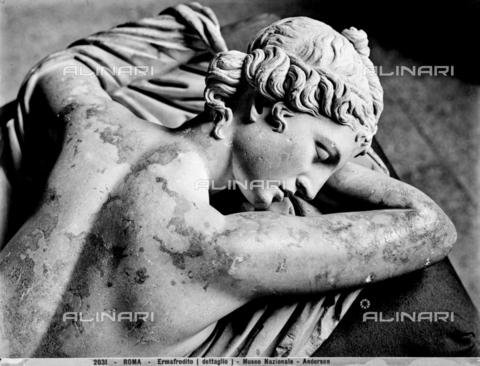 ADA-F-002031-0000 - Dettaglio con la testa e parte della schiena dell'Ermafrodito, statua romana conservata al Museo Nazionale Romano (ex Collegio Massimo) a Roma. - Data dello scatto: 1890 ca. - Archivi Alinari, Firenze