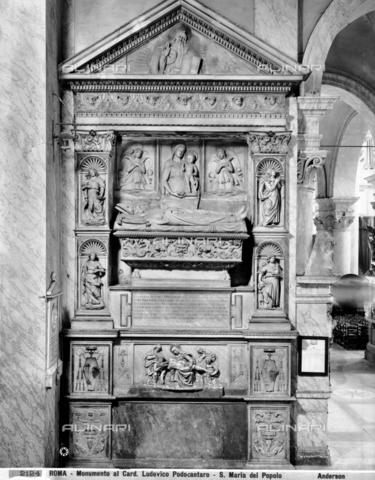 ADA-F-002124-0000 - Funeral monument of Cardinal Podocataro, marble, Roman Ignoto from the 16th century or Bottega di Andrea Bregno, Church of Santa Maria del Popolo, Rome - Date of photography: 1890 ca. - Alinari Archives-Anderson Archive, Florence