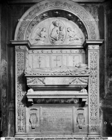 ADA-F-002126-0000 - Funeral monument of Cardinal Cristoforo della Rovere, marble, Andrea Bregno (c. 1418-1503), Chapel of the Nativity Scene, Church of Santa Maria del Popolo, Rome - Date of photography: 1890 ca. - Alinari Archives-Anderson Archive, Florence