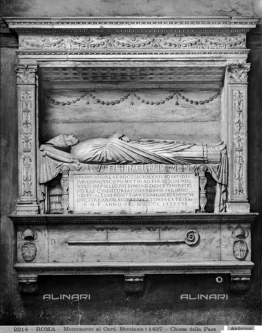 ADA-F-002214-0000 - Funeral monument of Cardinal Giovanni Andrea Bocciacci, marble, Luigi Capponi (Bottega di), Cloister of the Church of Santa Maria della Pace, Rome - Date of photography: 1890 ca. - Alinari Archives-Anderson Archive, Florence